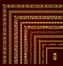 Golden set of decorative corner borders and frames vector