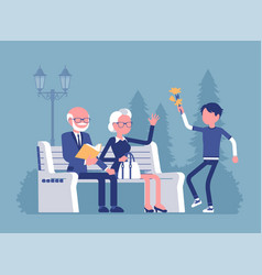 grandparents and grandson in a park vector image