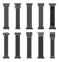 Greek ancient columns classic roman and vector