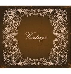Grunge baroque floral frame vector