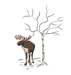 hand drawn animal moose vector image