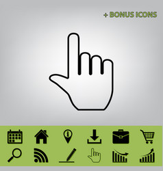 hand sign black icon at gray vector image
