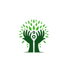 hand tree engineering gear leaf leaves logo icon vector image