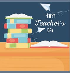 Happy teachers day school open book on stack vector