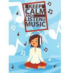 headphone woman character in headset listening to vector image