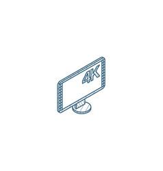 high resolution 4k tv isometric icon 3d line art vector image