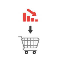 icon concept of shopping cart with bar graph vector image