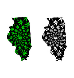 Illinois - map is designed cannabis leaf vector