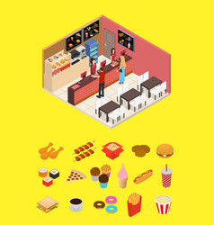 interior fast food restaurant and elements part vector image