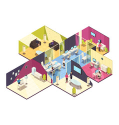 Isometric office building interior vector