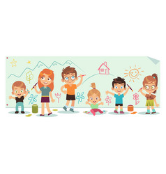 Kids drawing pictures art children paint tools vector