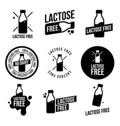 Lactose free icons set vector