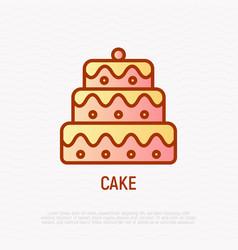layered cake thin line icon wedding dessert vector image