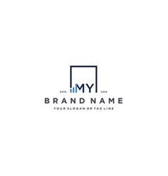 Letter my square logo finance design vector