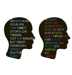 Logic and creative art ideas in brain vector