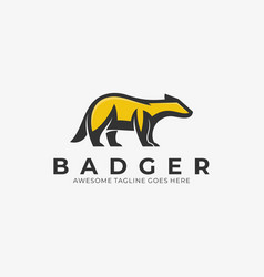 logo badger pose mascot cartoon vector image