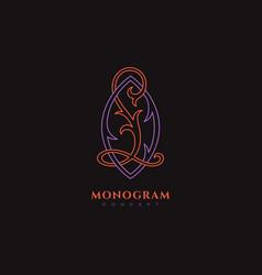 luxury monogram lo vector image