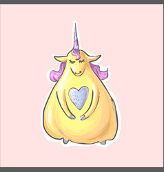 magic yellow shy cute funny fat unicorn vector image