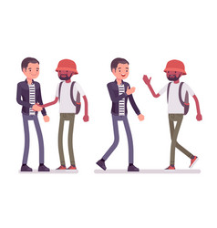 male friends greeting vector image
