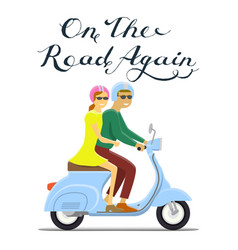 Man and woman riding on the motorbike on the road vector