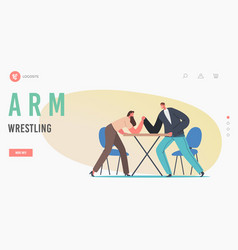 Man and woman struggle landing page template male vector