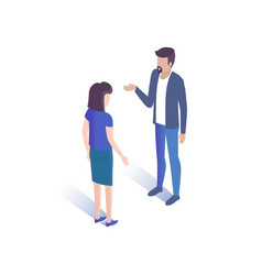 man and woman talking together vector image