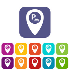 map pointer with car parking icons set vector image