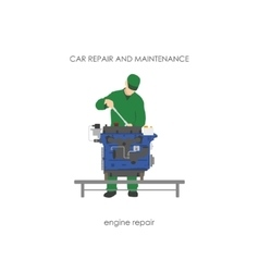 Mechanic in overalls repairing car engine vector