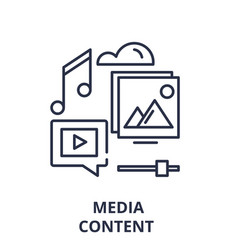 media content line icon concept media content vector image