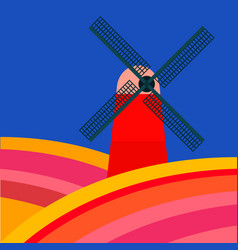 Mill with tulipan fields on a blue background vector