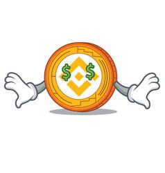 Money eye binance coin mascot catoon vector