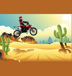 motor cross rider in the desert vector image