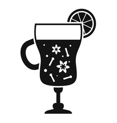 mulled wine glass icon simple style vector image