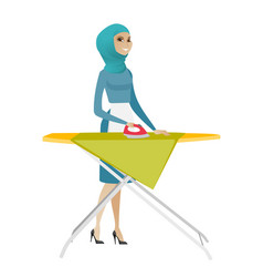 Muslim maid ironing clothes on ironing board vector