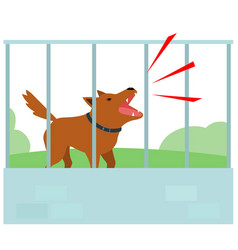 Noisy dog barking all the time in fence of vector