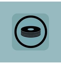 Pale blue disc pile sign vector