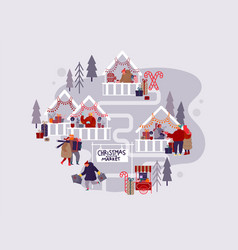 people characters with holiday scenes on christmas vector image