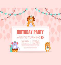 Pink invitation with background balloons for a vector