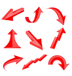 red bent arrows shiny 3d icons vector image