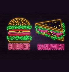 Retro neon burger and sandwich sign on brick wall vector