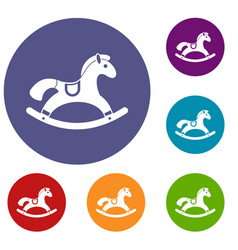 Rocking horse icons set vector