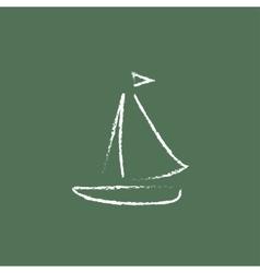 Sailboat icon drawn in chalk vector