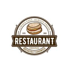 Sandwich burger fast food restaurant vintage logo vector