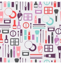 Seamless background with cosmetics icons vector image