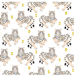seamless pattern with tiger on green background vector image