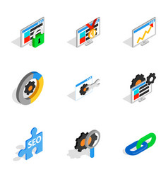 seo icons isometric 3d style vector image