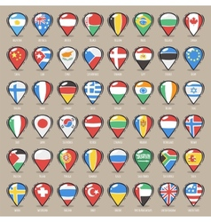 set cartoon map pointers with world states vector image