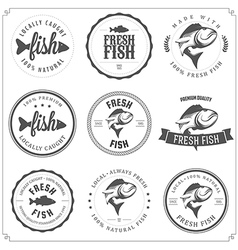 set made with fish stamps labels and badges vector image