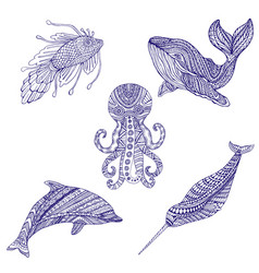 set marine doodle animals ornament coloring vector image