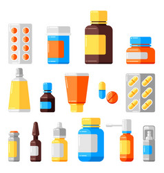set medicine bottles and pills vector image